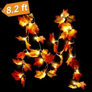 Details about 20/40LEDs Lighted Fall Autumn Pumpkin Maple Leaves Garland  Halloween Xmas Decor