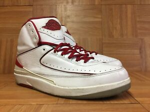 883a3a6781e RARE🔥 Nike Air Jordan 2 II Retro White Varsity Red Black Sz 12 ...