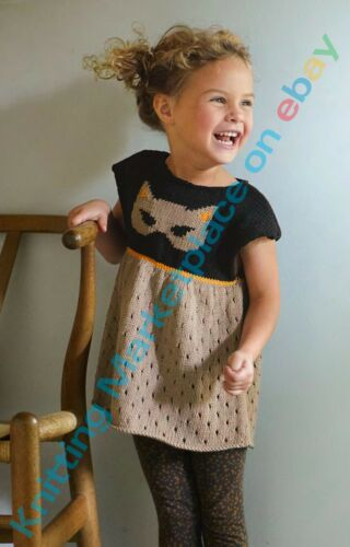Knitting pattern 5 tailles 2-10yrs Filles Chat Motif tunique PHILDAR pattern po194