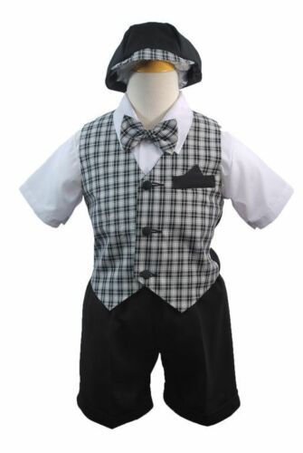 Baby Boy /& Toddler Formal Wedding Party Vest Suit New born to 4T black /& white