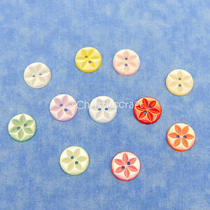 Pack of 100 New 11mm Assorted Star Baby Buttons Polyester Pink Blue Lemon Mint White