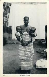 GHANA-Gold-Coast-ethnic-african-twins-real-photo-postcard