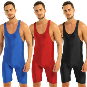 Mens Wrestling Singlet Jumpsuit Stretch Bodysuit Leotard Briefs Underwear M-XL