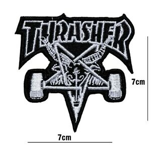 THRASHER SKATE BOARD MUSIC BAND EMBROIDERED PATCH IRON OR SEW ON BADGE LOGO