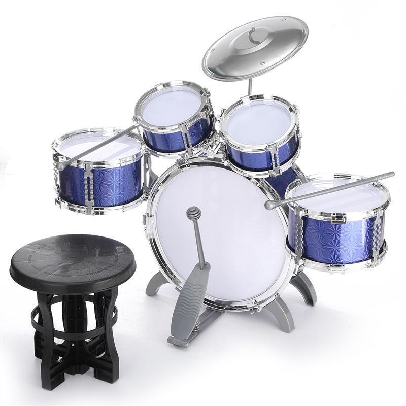Instrumento Musical Tambor Juguete Niños Set Baquetas Palos Taburete de platillos de percusión
