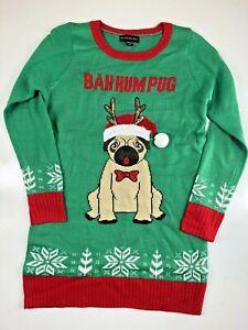 Blizzard Bay Girls Bah-Hum Pug Christmas Sweater