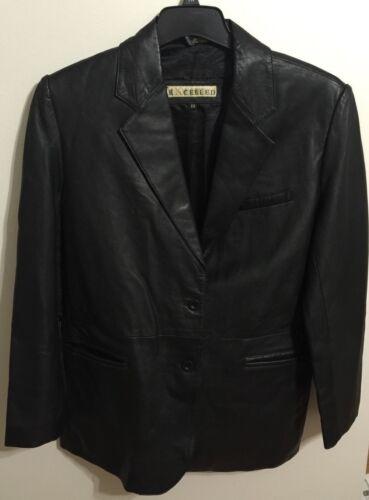 Ladies Excelled Black Genuine Leather Jacket Size