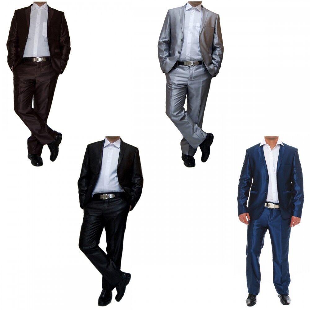 Diseñador Traje de Hombre Ensizedo Lana Chaqueta u Hose Brillo black Marrón