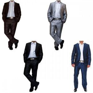 Designer-Herren-Anzug-tailliert-Wolle-Sakko-u-Hose-Glanz-Schwarz-Braun-Silber