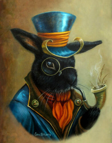Smoking Bunny Rabbit Portrait Steam Punk Print Fantasy Wall Art Decor