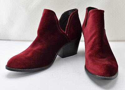 Día grado tobillo  Steve Madden Adelphie Red Velvet Leather Side Cut Out Ankle Booties -  Women's 10 | eBay
