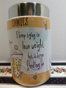 Cookie-Jar-Biscuit-Barrel-Stoneware-Born-to-Shop-Lose-Weight-Johnson-Brothers
