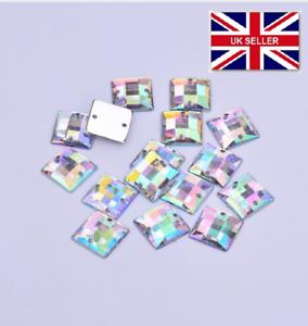 100 X Cuadrado De Acrílico Transparente Coser AB Diamante Cristal joyas Rhinestone 10mm