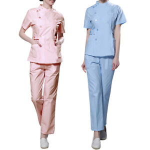 359aae3d329 Image is loading Women-Scrubs-Set-Pro-Hospital-Uniforms-Short-Sleeved-