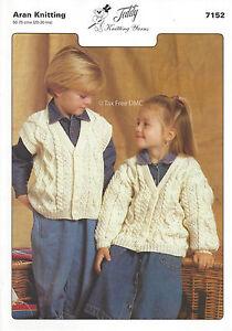 Vat Free Knitting Pattern Only Aran Child Waistcoat Cardigan Teddy