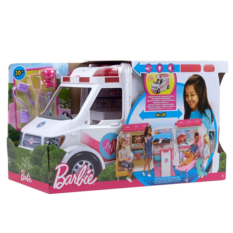 Barbie Ambulanza Trasformabile in Clinica Mobile Tanti Accessori Mattel FRM19