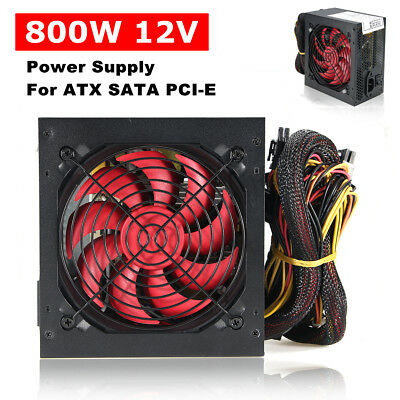 850 W Watt PSU PFC Fan ATX 24-PIN 12CM PC Computer Gaming Power Supply 80 ❤