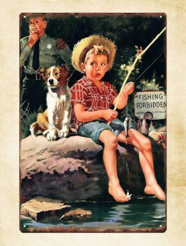 1950s trouble brewing boy fishing metal tin sign garage store