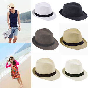 9c2ed8f29db Women Men Braid Fedora Trilby Gangster Cap Summer Beach Sun Straw ...