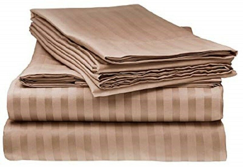 Luxurious 4 PCs Sheet Set In All Size 100% Pima Cotton 1000 TC Taupe Stripe