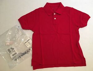 32d27e9201219b Details about NWT Lands  End Little Kids M 5-6 Red Pique Mesh Short Sleeve  Uniform Polo Shirt