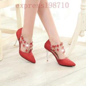Womens-Stiletto-High-Heel-Formal-Bridal-Glitter-Rhinestone-Wedding-Pumps-Shoes