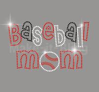 Baseball Mom Rhinestone Iron On Heat Transfer Sport Kids Fun Black Red