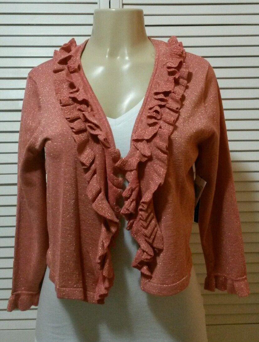 Grace Elements New Coral Pink Metallic Ruffle Trim Cardigan Large