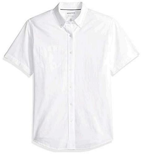White Size Large Essentials Men/'s Regular-Fit Short-Sleeve Pocket