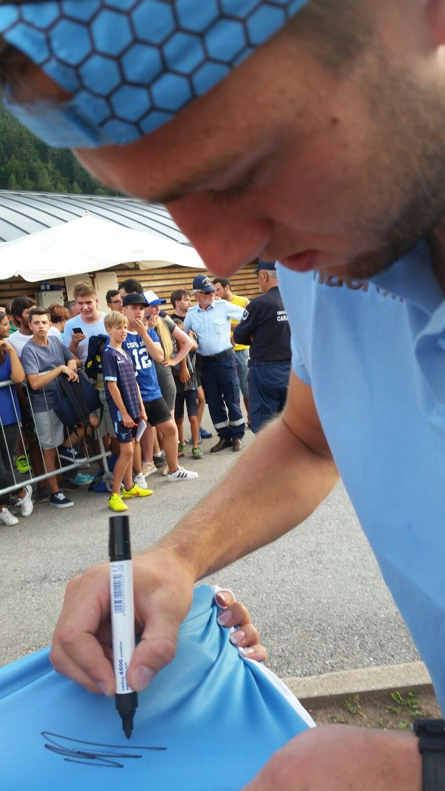 Lazio Match Issued Tim Jersey Finale Tim Issued Cup 2015 signed by de Vrij+Lulic a92453