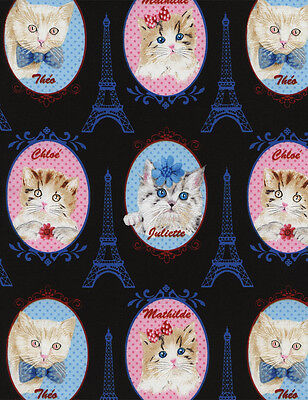 Cats Portraits Kittens & the Eiffel Tower Timeless Treasures #3185 By the Yard