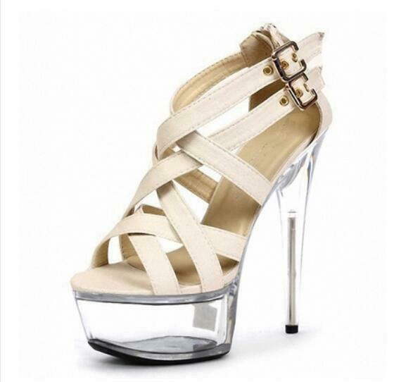 Sexy Womens High Heels Gladiater Cross Ankle Strap Sandals Stage shoes Stilettos