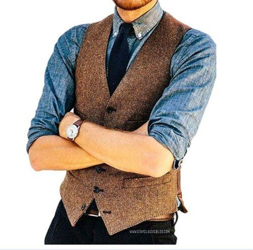 Brown Wool Herringbone Tweed Vests Slim Mens Suit Vests Sleeveless WaistCoat