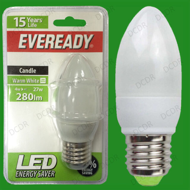 4W LED Eveready Ultra Low Energy Instant Start Candle Light Bulb, ES, E27 Lamp