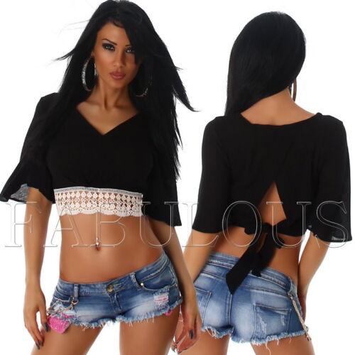 New Women/'s Ladies Crochet Lace Crop Top Blouse V-Neck Back Tie Size 8 10 S M