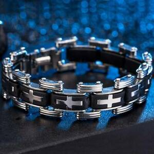 Stainless-Steel-Rubber-Cross-Bracelet-Men-039-s-Stylish-Biker-Bangle-Cuff-Jewelry-N7
