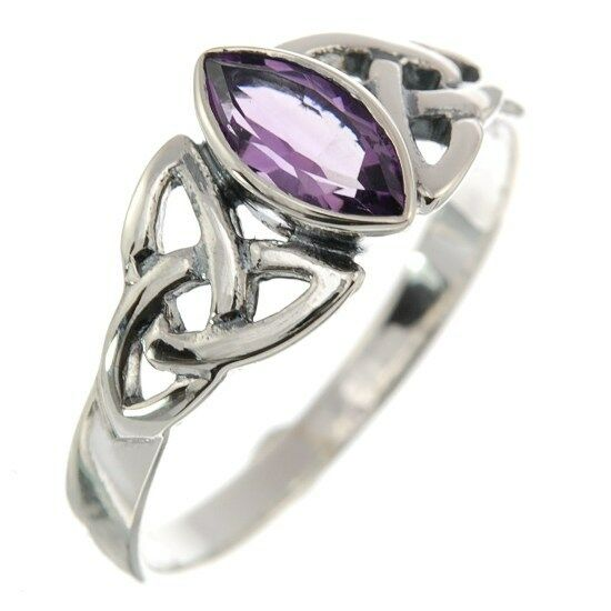 Celtic Knot Stone Silver Ring, Mix-US-Size, set w Amethyst, Solid Silver, r369