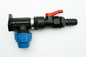 MDPE-Wall-Plate-Elbow-20mm-with-In-Line-On-Off-Ball-Valve-amp-3-4-034-Hose-tail