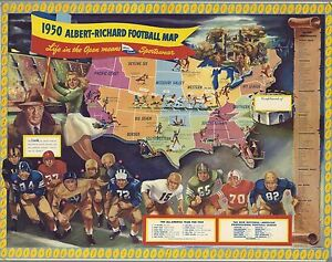Details about 1950 PICTORIAL football map United States college professional on france football map, facebook football map, louisiana football map, united states baseball league, nfl football map, united states super bowl, florida football map, united states business, college football states map, united states antarctic territory, wisconsin football map, united states of basketball, temple football map, united states sports, united states 50 states, all sports team on map, united states education ranking, united states infographic, united states trust territories, scotland football map,