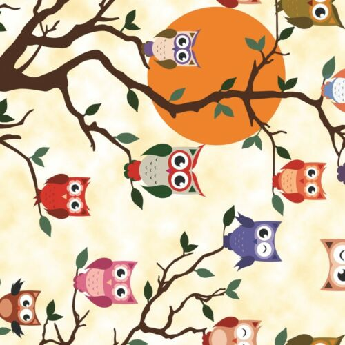 PVC Table Nappe tewoo Hiboux sur Arbre Branche Sun Hoot Orange Rouge Vert Essuyer Capable