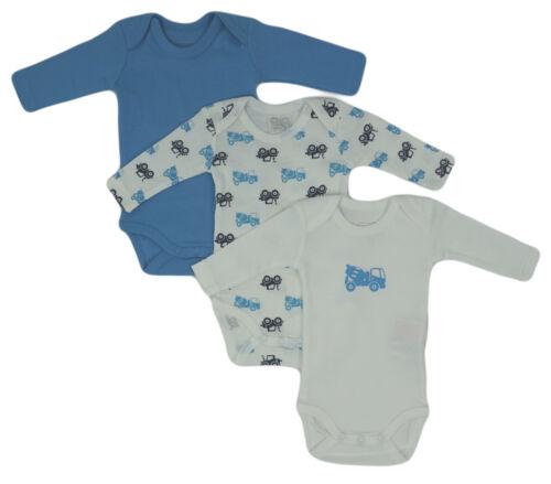 Name It 3er SET BODY Baby Kinder Jungen Bodys Einteiler Langarm Unterwäsche blau