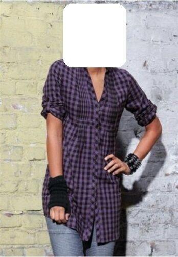 Damen Bluse Gr 42 schwarz lila Longbluse kariert 100/% Baumwolle Hemd Tunika