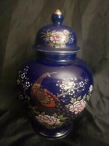 8-034-Japanese-Cobalt-Blue-Gold-Peacock-Pink-Floral-Porcelain-Ginger-Jar-Urn-amp-Lid