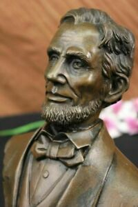 Signed-Arrieta-Abraham-Lincoln-President-Bronze-Bust-Figural-Figurine-Art-Decor