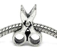 Scissors Hair Stylist Tool Bead Gift Fits Silver European Style Charm Bracelets