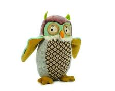 """Ragtales Rag Tags Ollie Owl 8"""" Doll Toy Soft White Velour Body Brown Fabric New"""