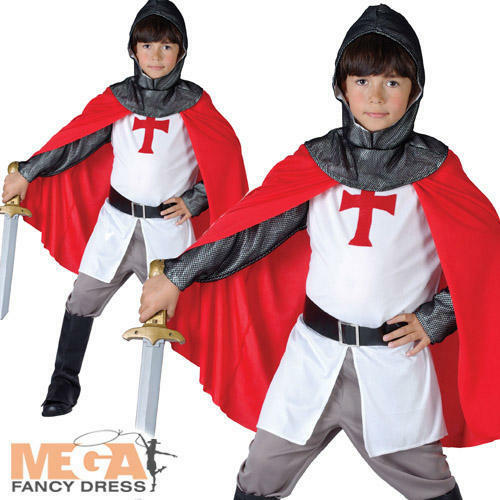 Crusader Boys Fancy Dress St Georges Medieval Knight Kids World Book Day Costume