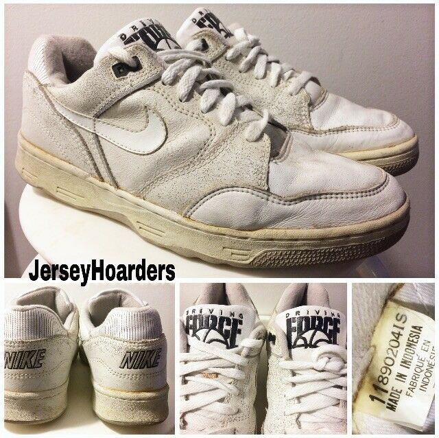 VINTAGE 80's 1989 NIKE DRIVING FORCE LOW (WHT  GRY  BLK) OG BASKETBALL SHOES 11