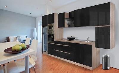 Küche Küchenzeile Küchenblock grifflos Küche 385 cm Eiche Sonoma grau respekta
