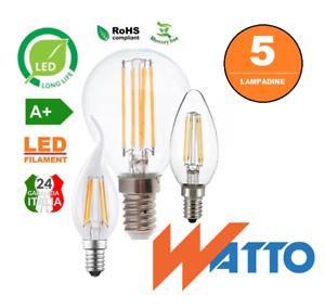 5-LAMPADINE-LED-FILAMENTO-NIFLUX-E14-2W-4W-6W-GLOBO-OLIVA-FIAMMA